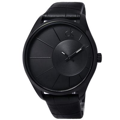 CK 雅痞紳士‧放射狀極簡皮帶腕錶 - 黑面