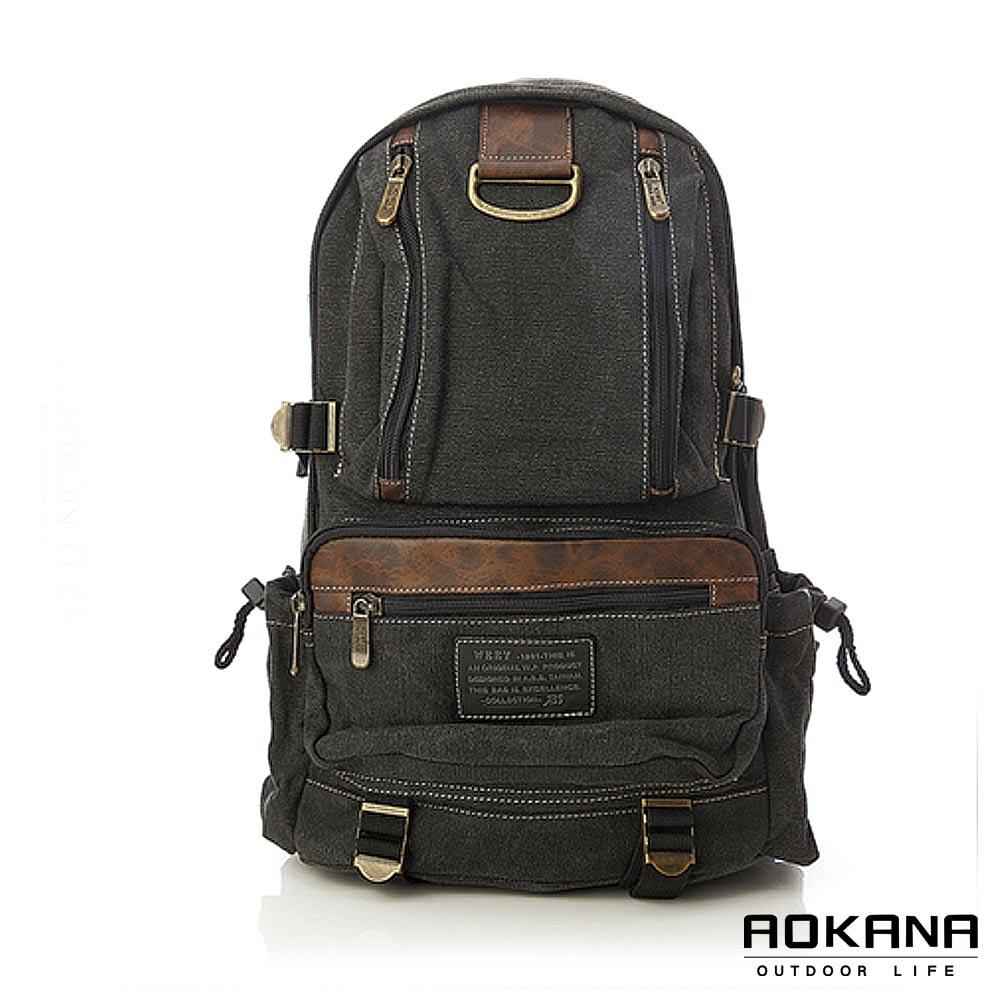 AOKANA奧卡納 潮流時尚水洗帆布後背包 背包(黑灰)1176