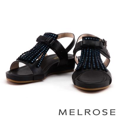涼鞋 MELROSE 流蘇水鑽蝴蝶結牛皮厚底涼鞋-黑