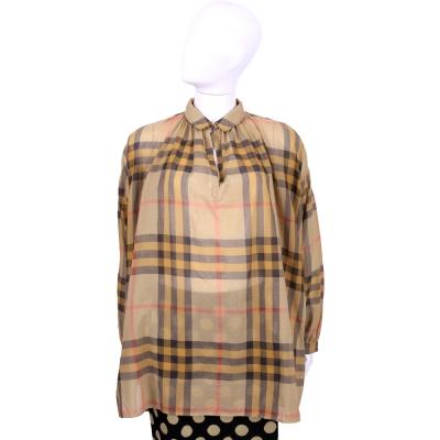 BURBERRY BRIT系列 棕色格紋棉質寬版長袖上衣