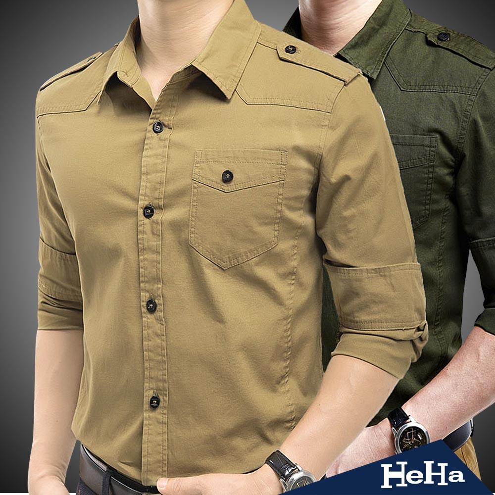 HeHa-時尚軍裝風肩章單口袋長袖襯衫(共二色)