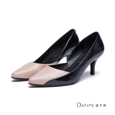 達芙妮DAPHNE-高跟鞋-V型拼接撞色高跟鞋-杏8H