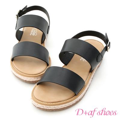 D+AF 舒適涼感.一字造型平底草編涼鞋*黑