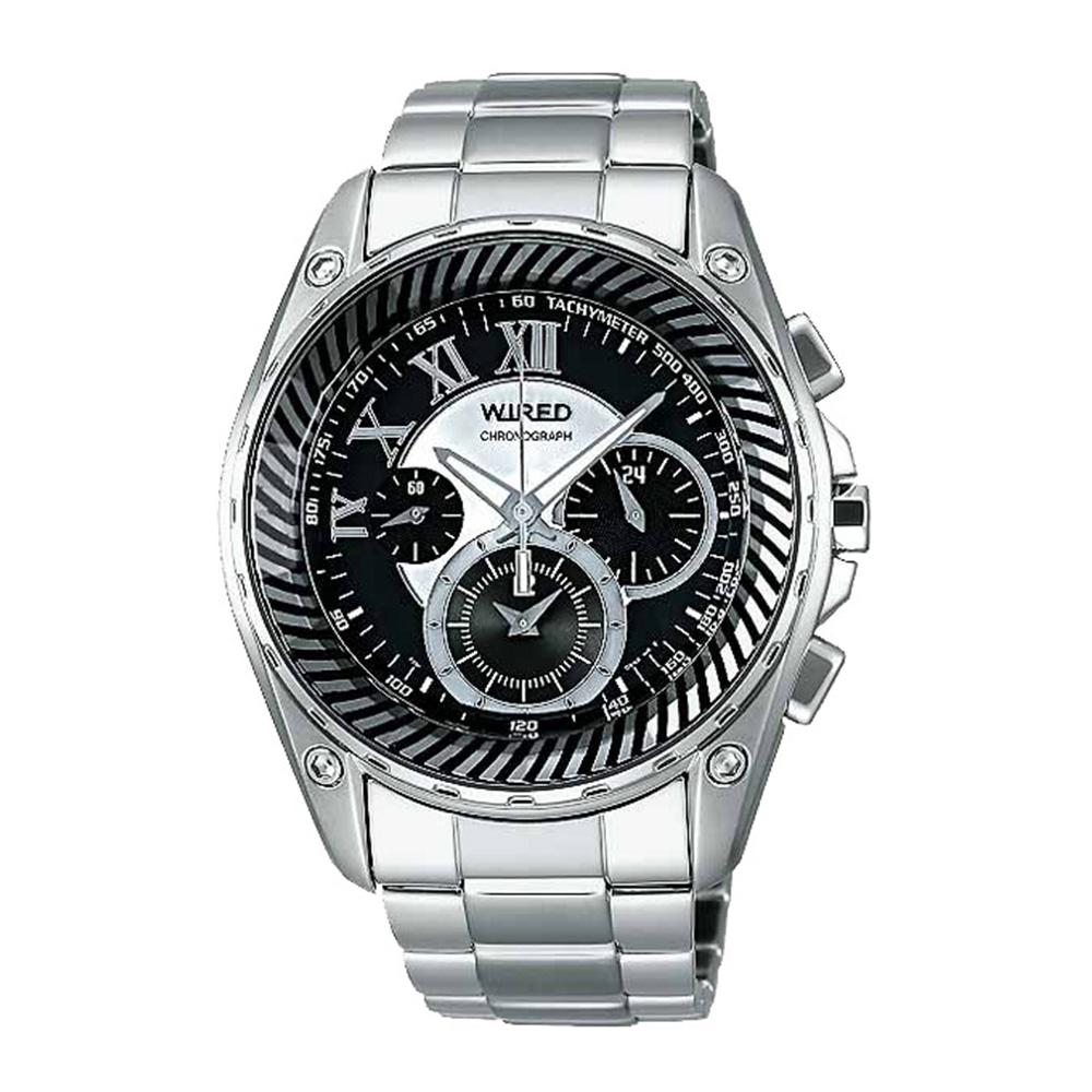 WIRED 魅影黑巫三眼計時腕錶(AL2047X)-黑/40mm