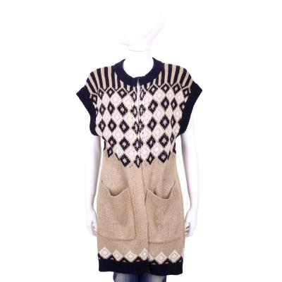 SEE BY CHLOE 卡其色圖騰織紋短袖長版罩衫