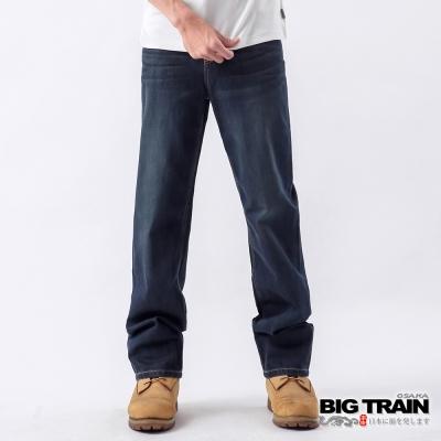 BIG TRAIN-基本袋花純棉直筒褲-深藍