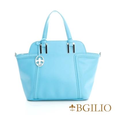 義大利BGilio-時尚簡約牛皮側背包-藍色 1972.002A-09