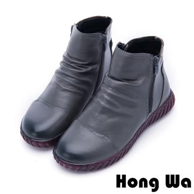 Hong Wa - 素雅時尚拉鍊牛皮休閒踝靴 - 灰