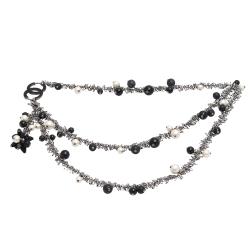 CHANEL 香奈兒經典雙C LOGO三色珍珠造型雙層長項鍊(黑)
