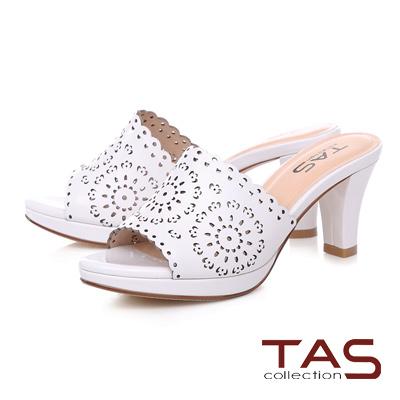 TAS 鏤空波浪雕花高跟涼拖鞋-亮麗白