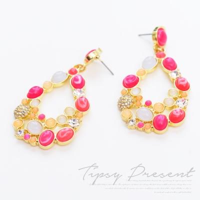 微醺禮物 耳環 水鑽 合金 粉紅糖果色 垂墜大耳環
