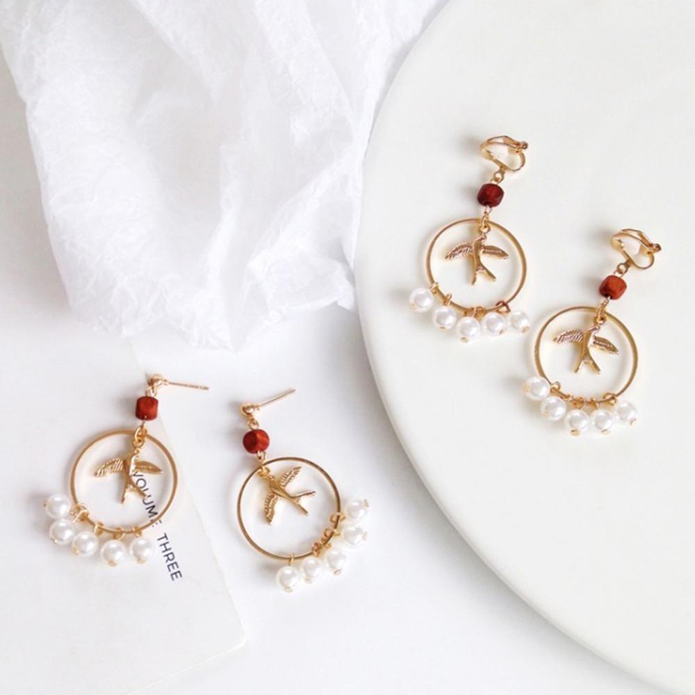 Hera 赫拉 韓國簡約燕子小鳥復古幾何圓形耳環耳針/無耳洞耳夾