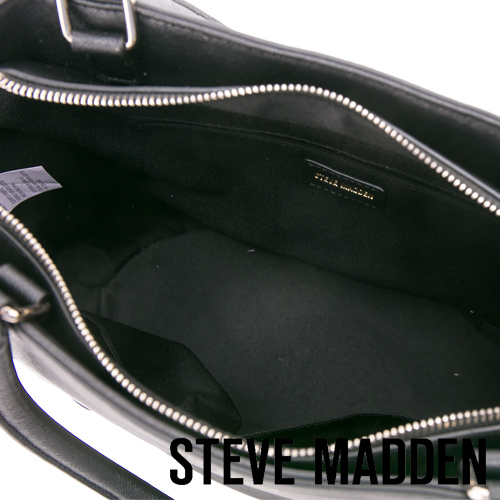 STEVE MADDEN-BMAURA-雙拉鍊手提肩背兩用包-黑色