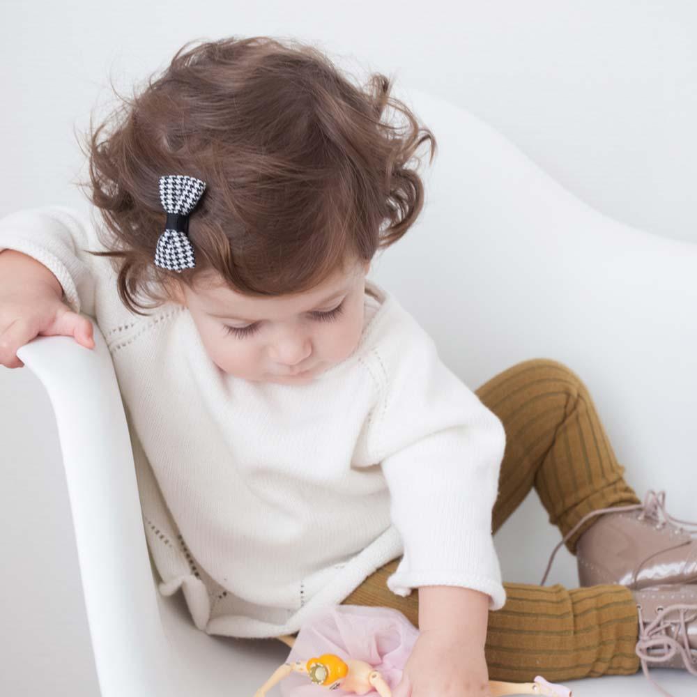 Joli Sophie 美國 黑白千鳥格點點蝴蝶結髮夾2入組