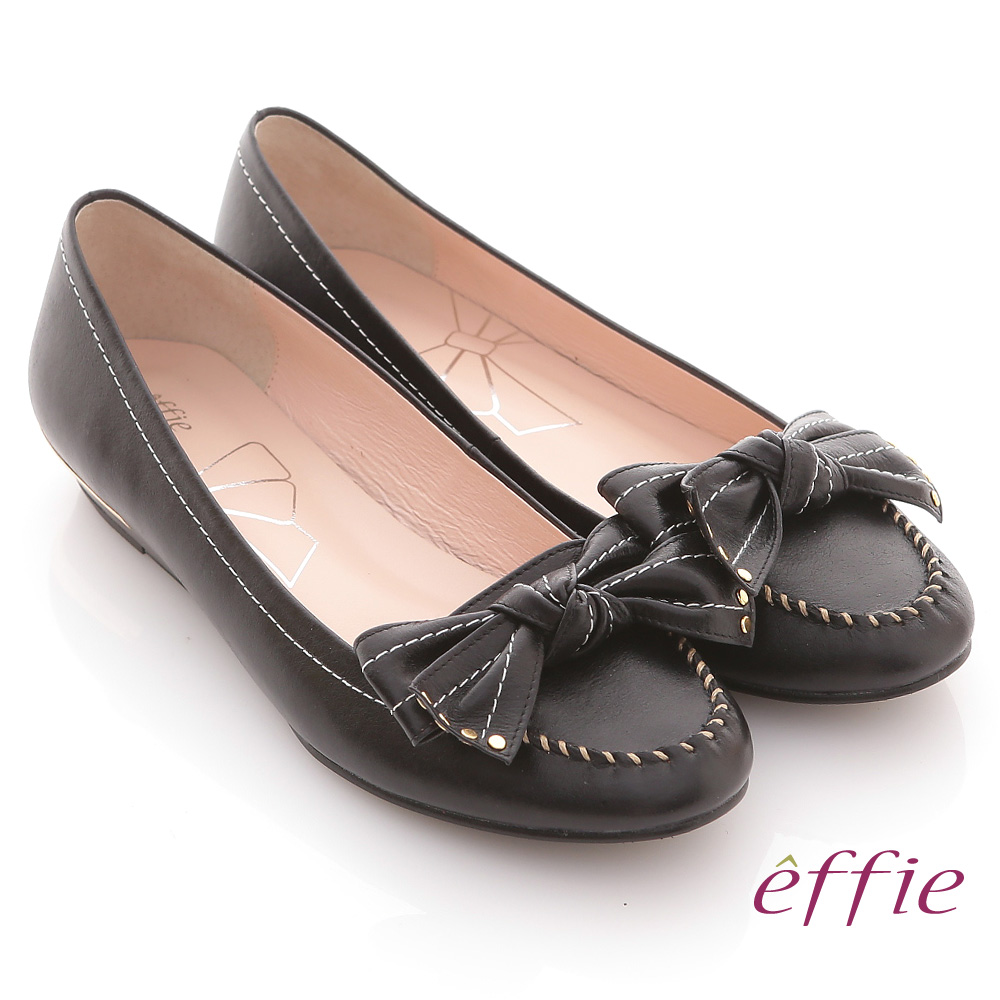 effie 俏麗悠活 真皮蝴蝶結金屬楔型低跟鞋 黑