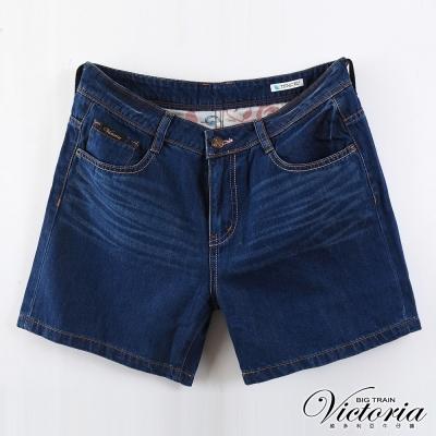 Victoria中大尺碼 加大天絲棉配線短褲-女-深藍