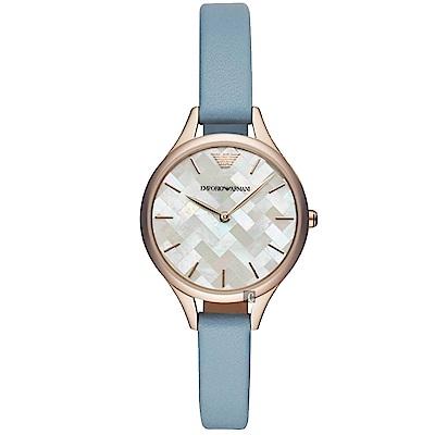 Emporio Armani 編織拼接時尚女錶-珍珠貝x藍/32mm
