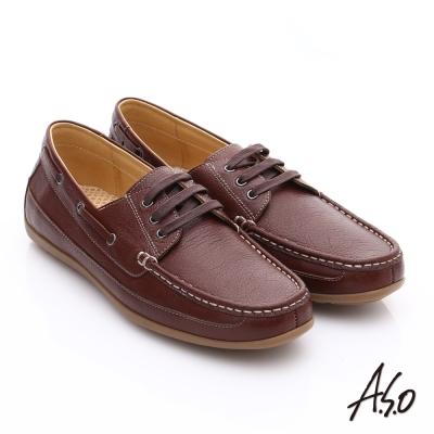 A.S.O 輕量抗震 真皮經典綁帶奈米休閒鞋 茶色