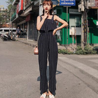 撞色條紋寬鬆連身吊帶褲 (共二色)-Kugi Girl