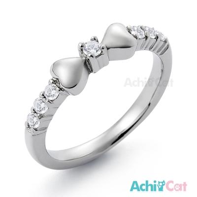 AchiCat 珠寶白鋼戒指尾戒 愛心蝴蝶結