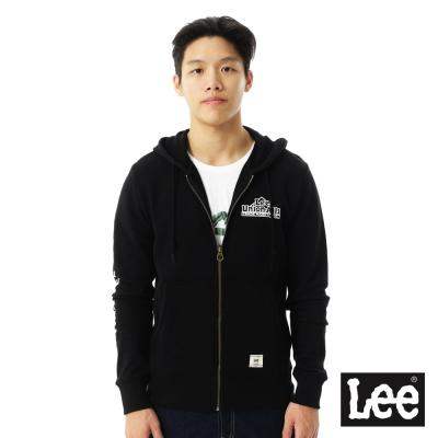 Lee-連帽外套-毛巾內裡連帽拉鍊-男款-黑