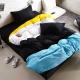 Aileen-撞色糖果單人三件式被套床包組-黑色幽