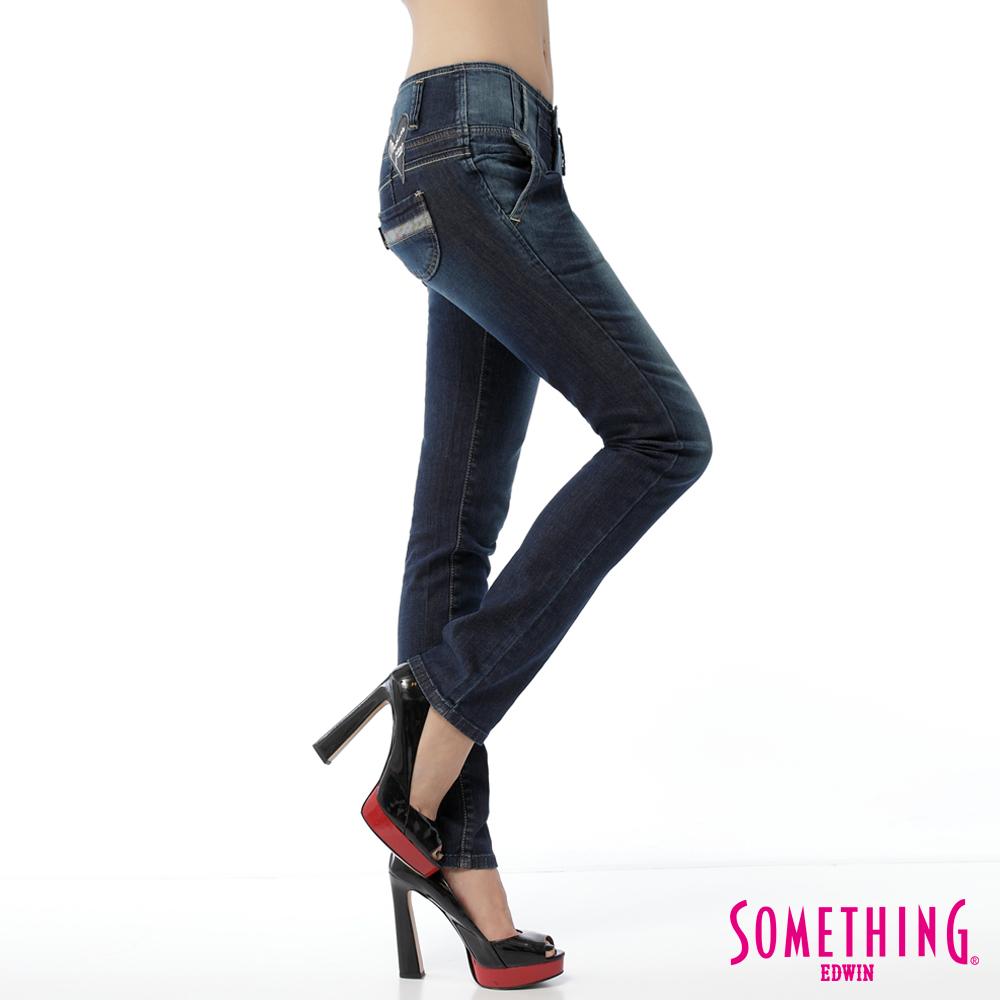 【SOMETHING】MEIDUSA 馬甲式剪接小直筒牛仔褲-女款(酵洗藍)