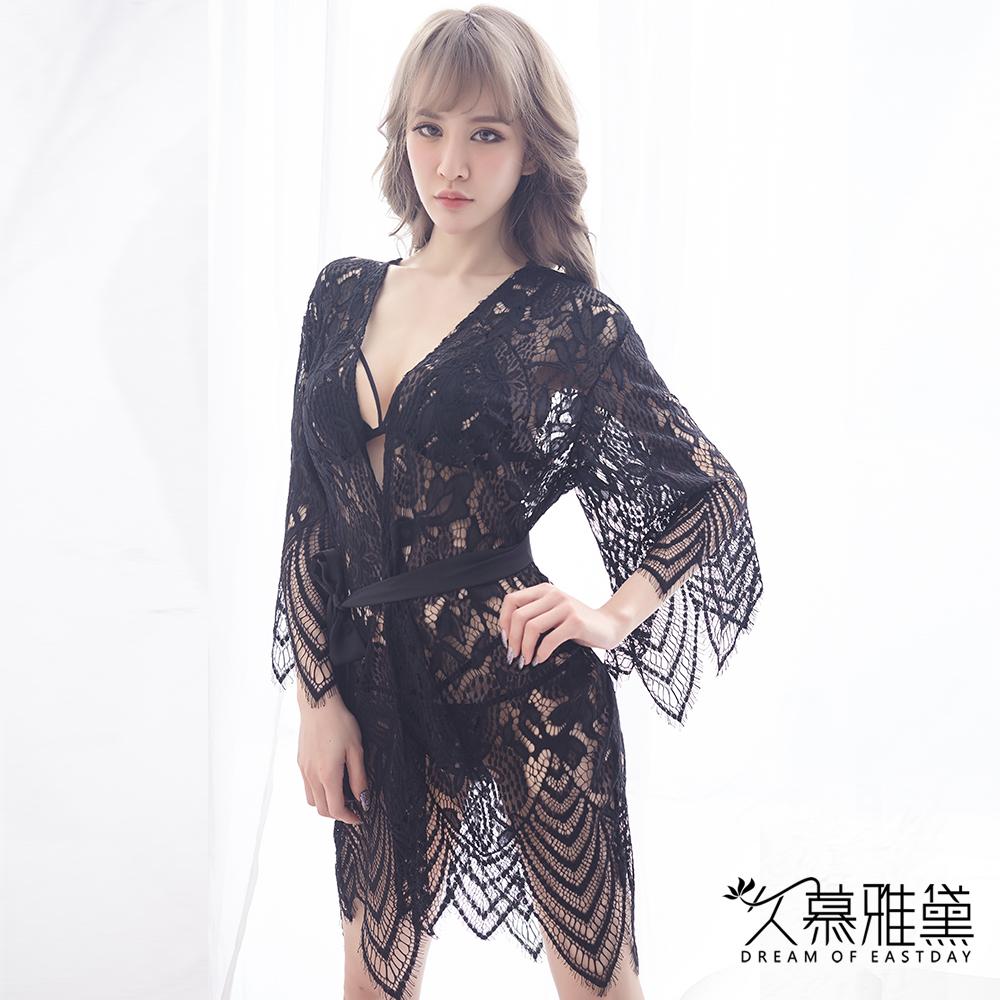 性感睡衣 水溶蕾絲鏤空外套。黑色 久慕雅黛