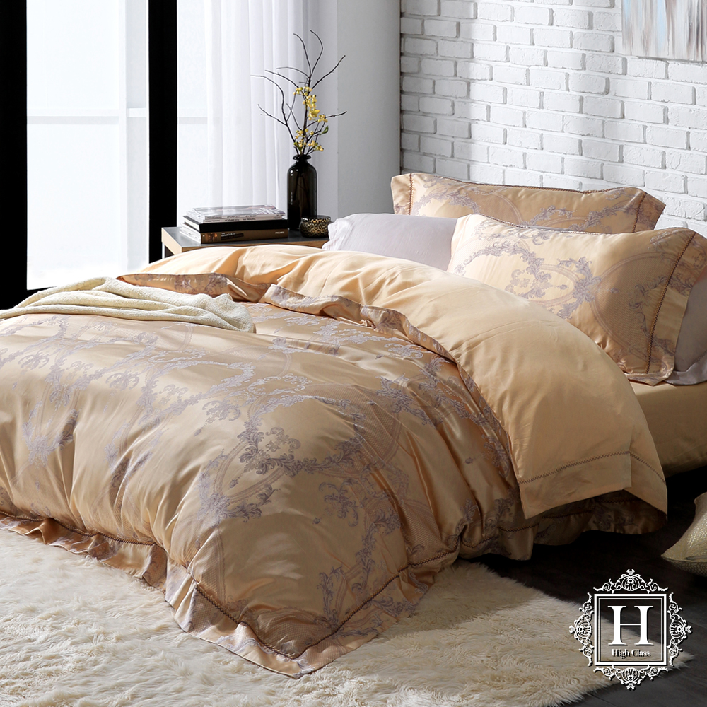 HOYA H Series尊爵流金 加大四件式臻絲長纖棉緹花被套床包組 贈蠶絲被