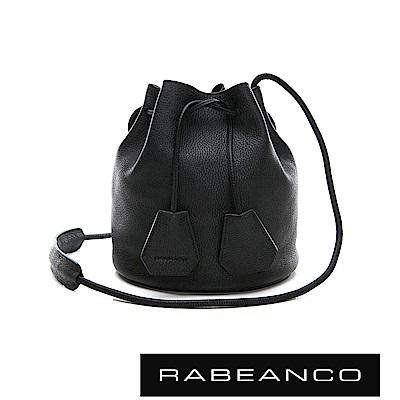 RABEANCO 真皮荔枝紋經典束口水桶包 - 鋼琴黑
