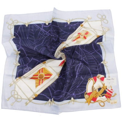TRUSSARDI-飄洋藍圖海軍風領帕巾-淺黃