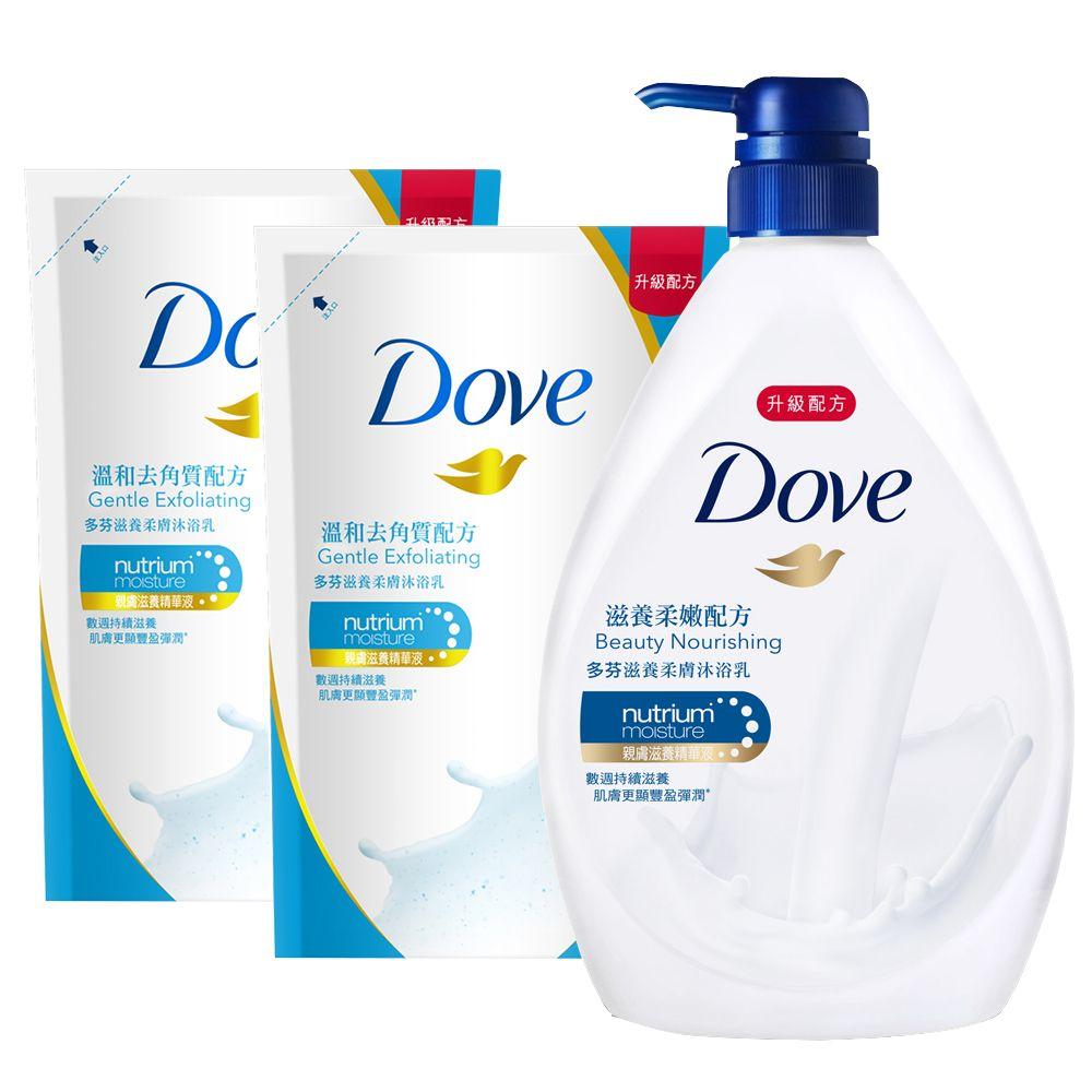 DOVE多芬 滋養柔膚沐浴乳超值組(滋養柔嫩1L+溫和去角質650MLx2)
