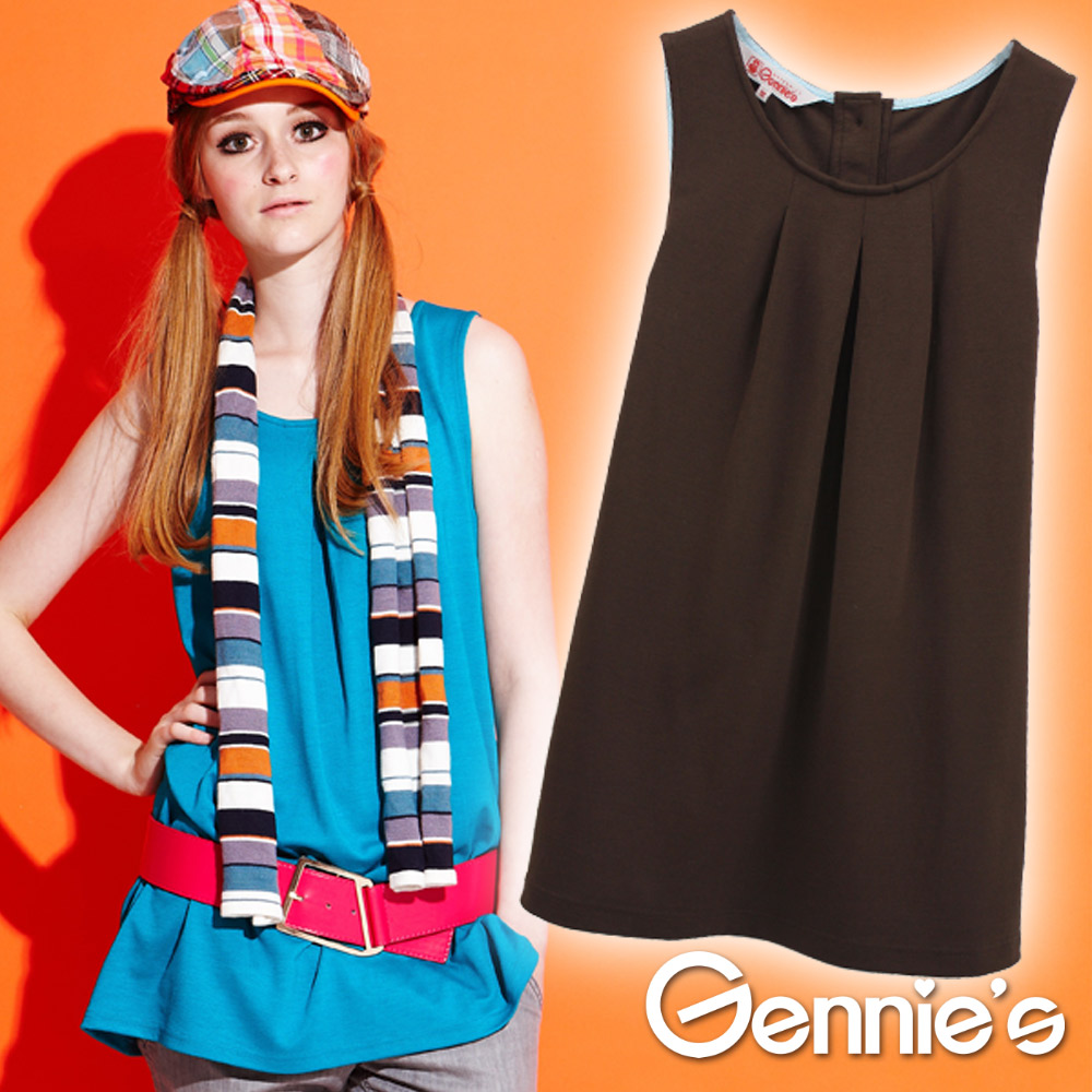 四季可穿【Gennie's奇妮】素面褶飾無袖孕婦上衣-藍/咖(G3Y02)