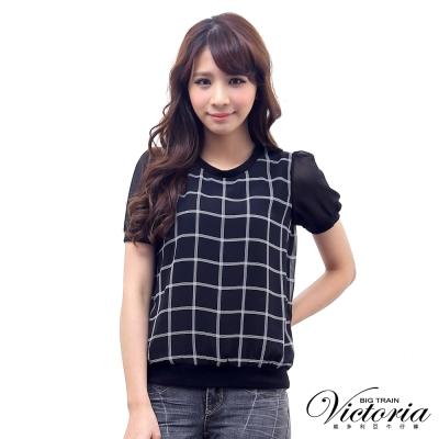 Victoria 小蓬袖格子雪紡T-女-黑