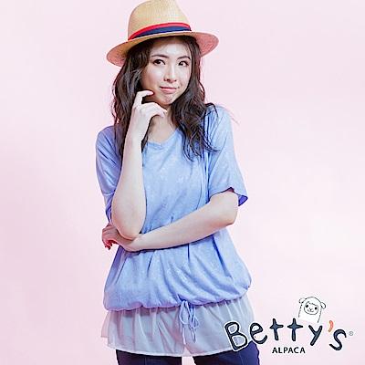 betty's貝蒂思 圓領星星圖紋拼接雪紡寬版上衣(淺藍)