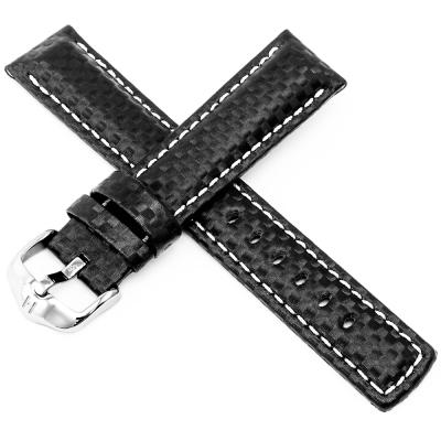 海奕施 HIRSCH Carbon L 防水100米 碳纖維壓紋皮革錶帶-黑