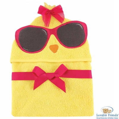 Luvable Friends 黃色墨鏡小雞動物造型連帽浴巾