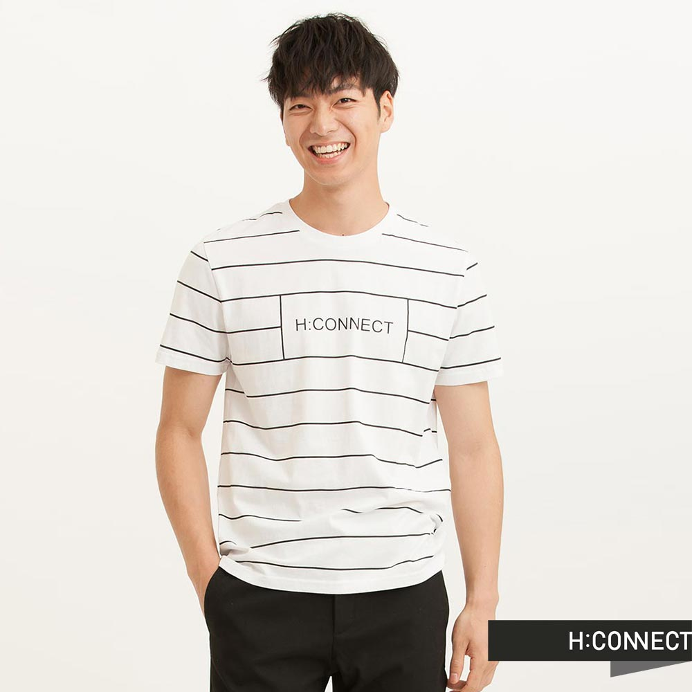 H:CONNECT 韓國品牌 男裝 - CONNECT簡約線條棉T-Shirt -白