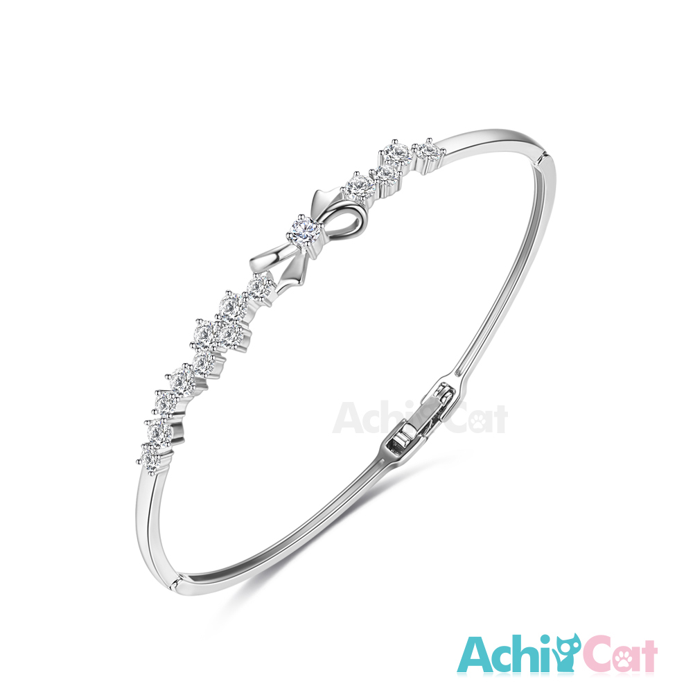 AchiCat 白K手環 甜美蝴蝶結 (銀色)
