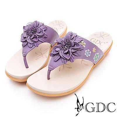 GDC-真皮氣質花朵舒適夾腳拖鞋-紫色