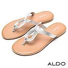 ALDO 原色亮面水滴造型鏤空流線休閒涼拖鞋~璀璨銀色