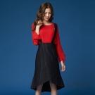 OUWEY歐薇 條紋剪接不規則吊帶裙(黑)-動態show