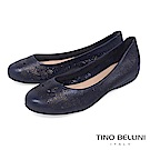 Tino Bellini 巴西進口質感皮革鏤空雕花娃娃鞋_ 藍