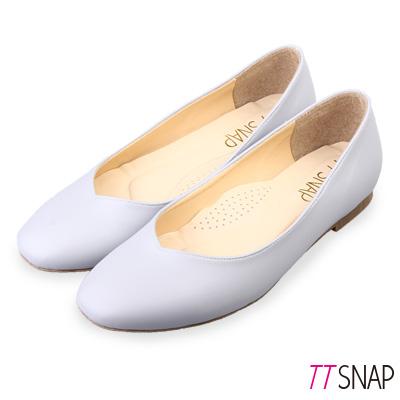 TTSNAP娃娃鞋-MIT素面細緻羊紋平底鞋 灰