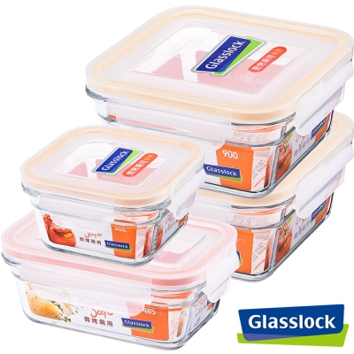 Glasslock強化玻璃微烤兩用保鮮盒-烘焙推薦4件組