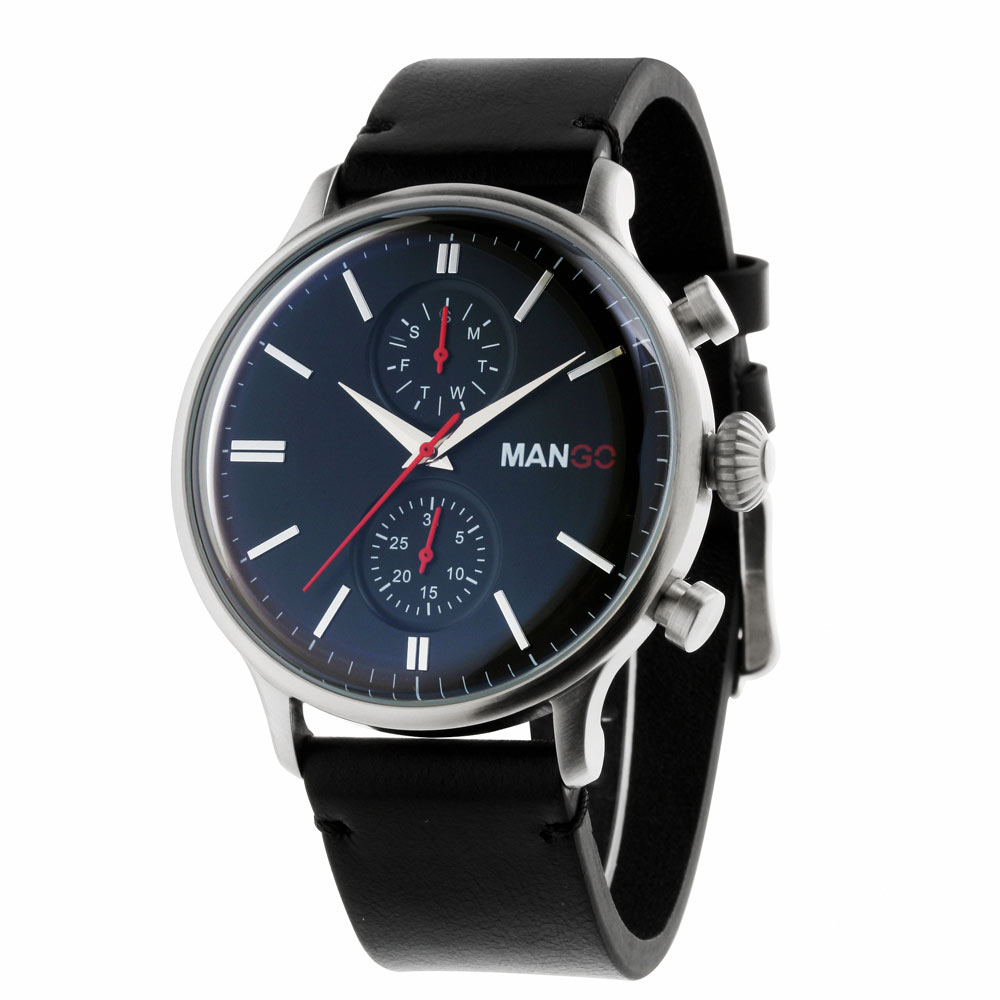 MANGO HOMME 簡約復古時尚不鏽鋼時尚腕錶-黑/45mm