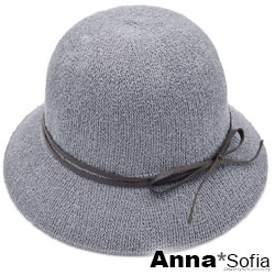 【滿額再75折】AnnaSofia 雙線細綁咖結 軟式線織盆帽漁夫帽(煙灰系)