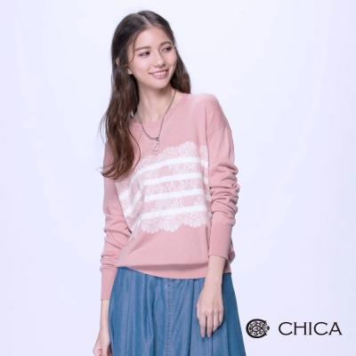 CHICA-手工精緻花朵蕾絲裝飾圓領線衫-2色