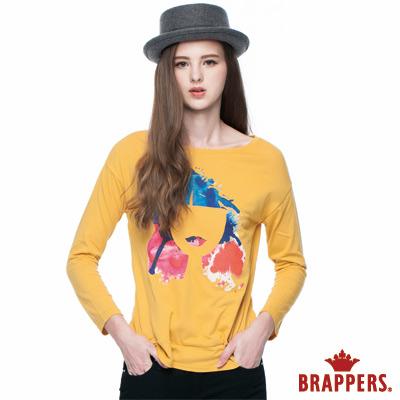 BRAPPERS 女款 女用彩色人臉印刷長袖上衣-芥黃