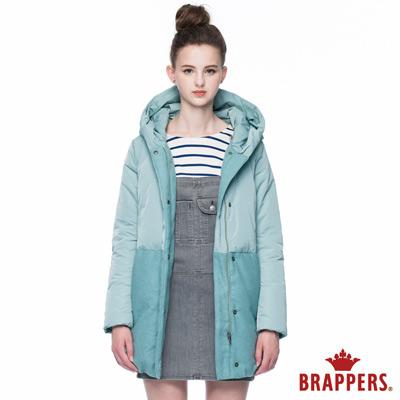 BRAPPERS 女款 女用拼接長版羽絨外套-淺綠